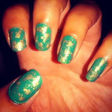 Turquoise Nail Art With Water Marble